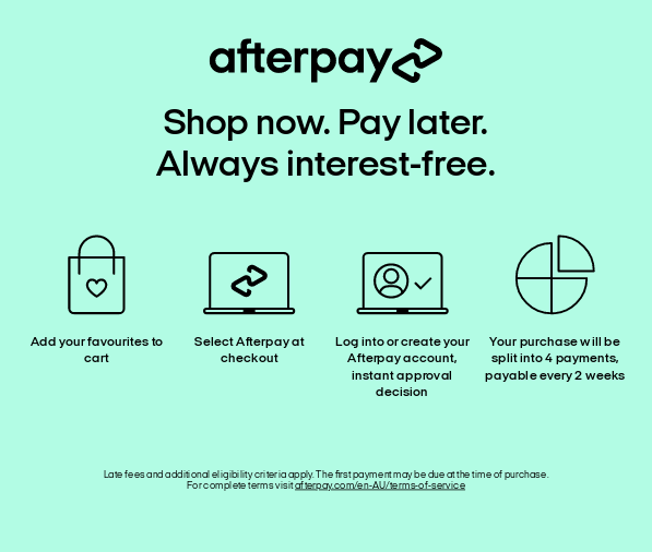 image shows afterpay description with slogan 'Shop now. Pay later' and 'Always interest free'.
